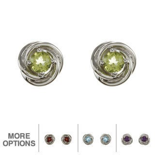 Sterling Silver Gemstone Swirl Stud Earrings