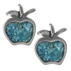 Journee Collection Sterling Silver Genuine Turquoise Apple Stud Earrings