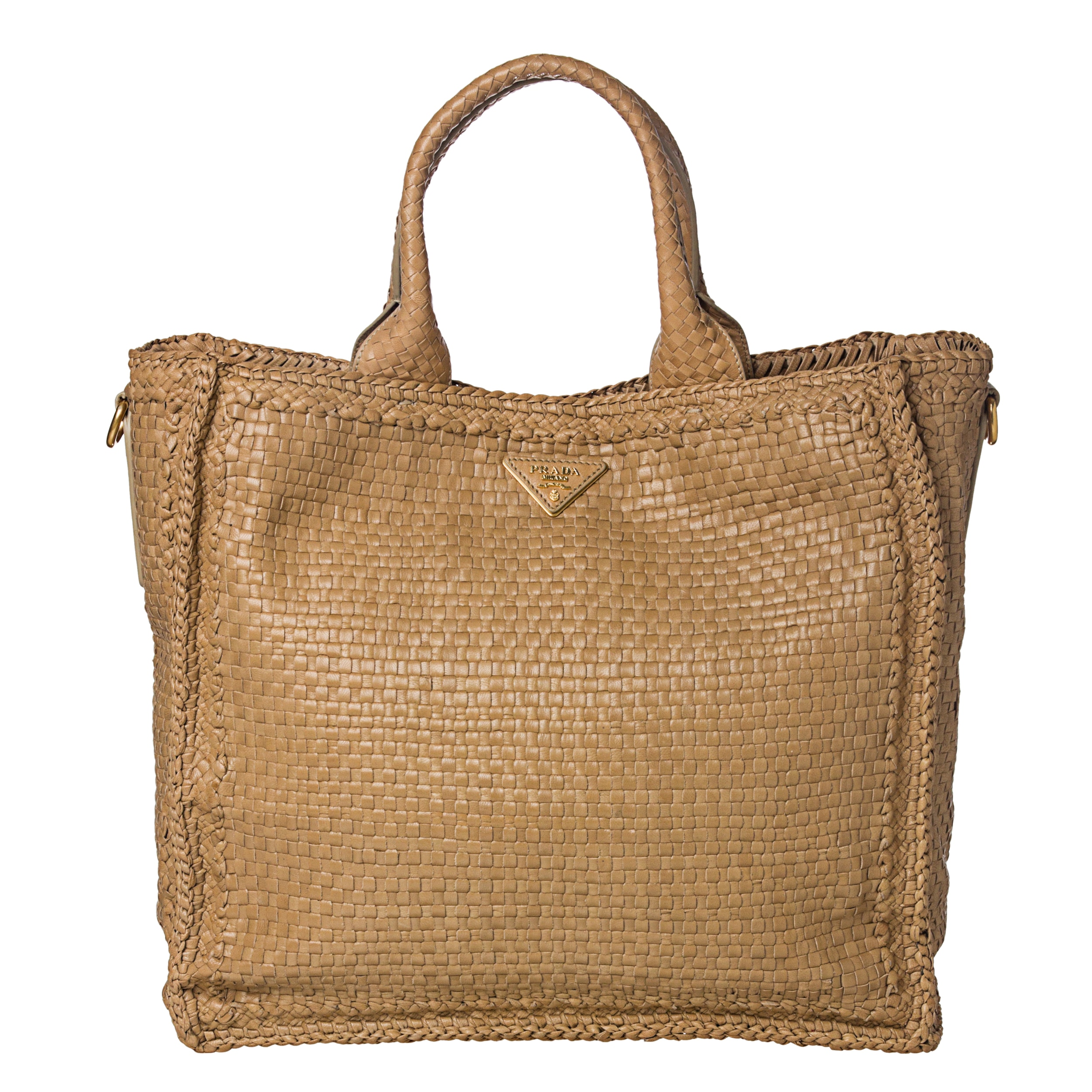Prada Tan Woven Madras Leather Tote Bag