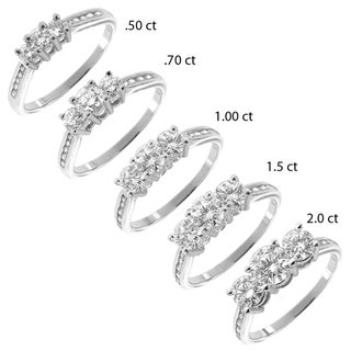 14k White Gold 1/2 to 2ct TDW Diamond 3-stone Ring (G-H, I1-I2)