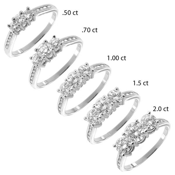 14k White Gold 1/2 to 2ct TDW Diamond 3-stone Ring (G-H, I1-I2)