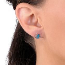 Journee Collection Sterling Silver Genuine Turquoise Frog Stud Earrings