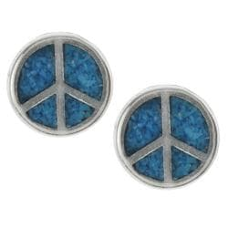 Tressa Sterling Silver Genuine Turquoise Peace Sign Stud Earrings