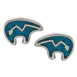Tressa Sterling Silver Genuine Turquoise Indian Bear Stud Earrings