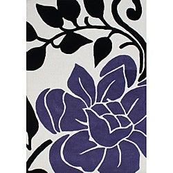 Alliyah Handmade Vanilla New Zealand Blend Wool Rug (5' x 8')