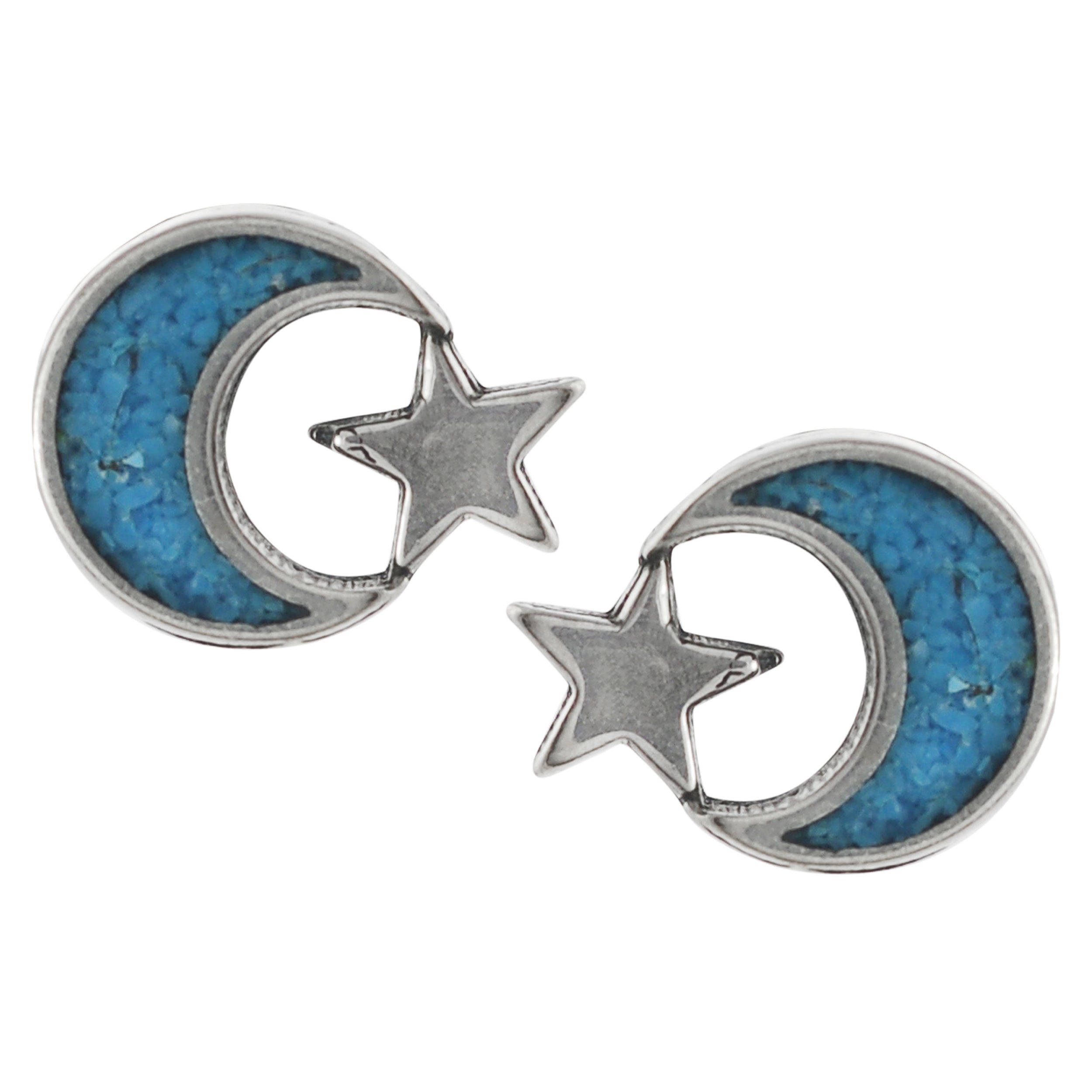 Journee Collection Sterling Silver Genuine Turquoise Moon and Star Stud Earrings