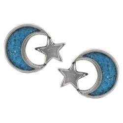 Tressa Sterling Silver Genuine Turquoise Moon and Star Stud Earrings