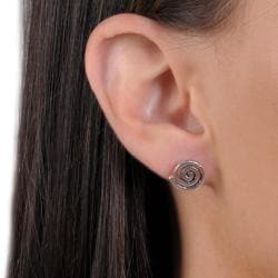 Tressa Sterling Silver Indian Spiral Symbol Stud Earrings