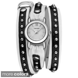 Vernier Women's Gold Tone Triple Wrap Tan/ Brown Watch