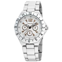 Vernier Women's White Sports Faux Chrono Bracelet Watch