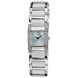 Vernier Women's Dazzling Rectangular Silver White Links Bracelet Watch