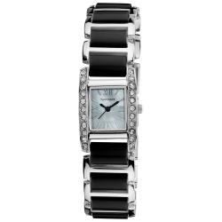 Vernier Women's Dazzling Rectangular Silver/ Black Links Bracelet Watch