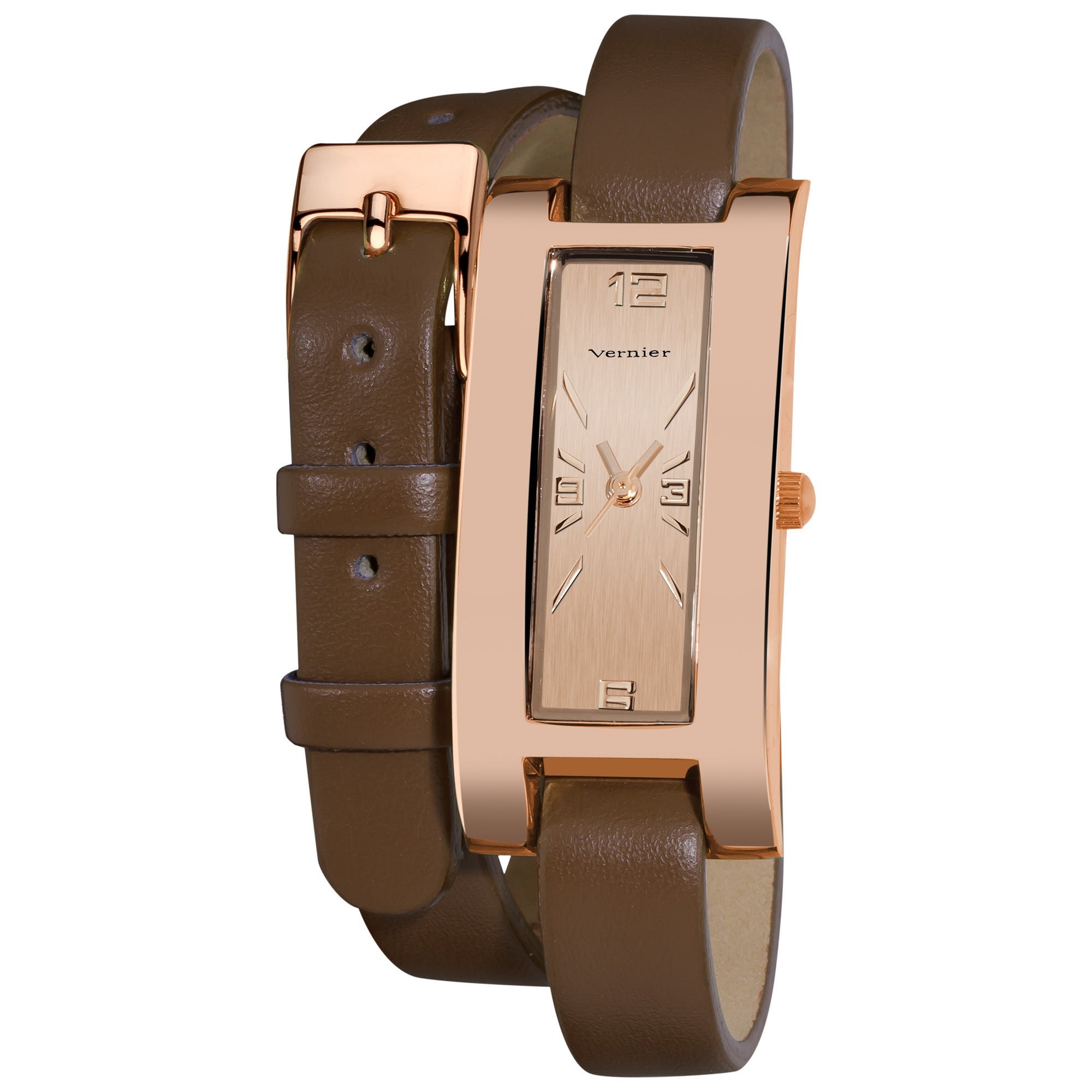 Vernier Women's Gold Tone Rose Double Wrap Leather Strap Watch