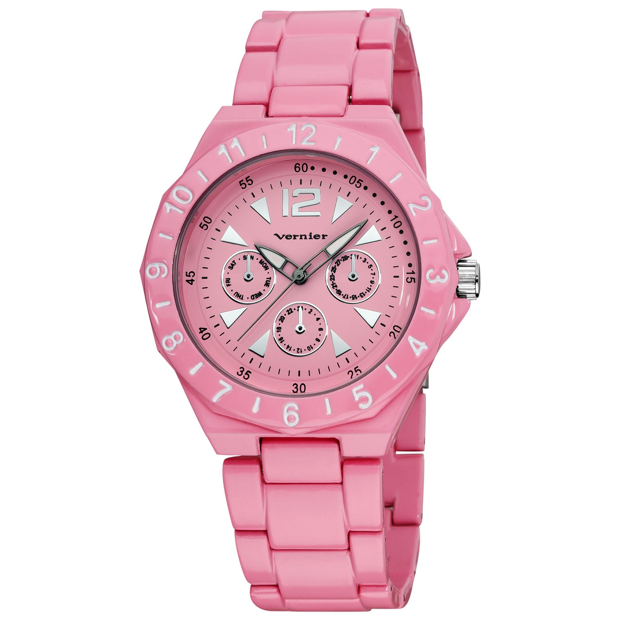 Vernier Women's Pink Sports Faux Chrono Bracelet Watch