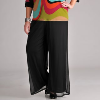 AnnaLee + Hope Women Plus Chiffon Wide Leg Pants