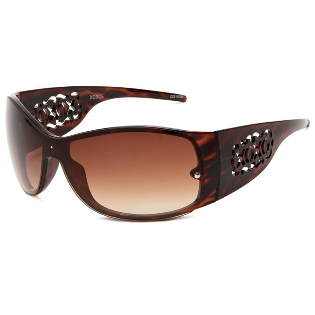 XOXO Tequila Tort Havana Shield Plastic Sunglasses With Brown Gradient Lens