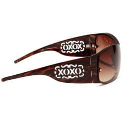 XOXO Tequila Tort Havana Shield Plastic Sunglasses With Brown Gradient Lens