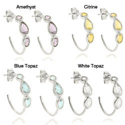 Dolce Giavonna Sterling Teardrop Gemstone Hoop Silver Earrings
