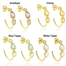 Dolce Giavonna Teardrop Gemstone 18k Gold Over Sterling Silver Hoop Earrings