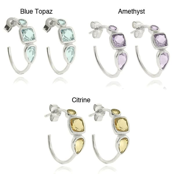 Dolce Giavonna Sterling Square Gemstone Silver Hoop Earrings