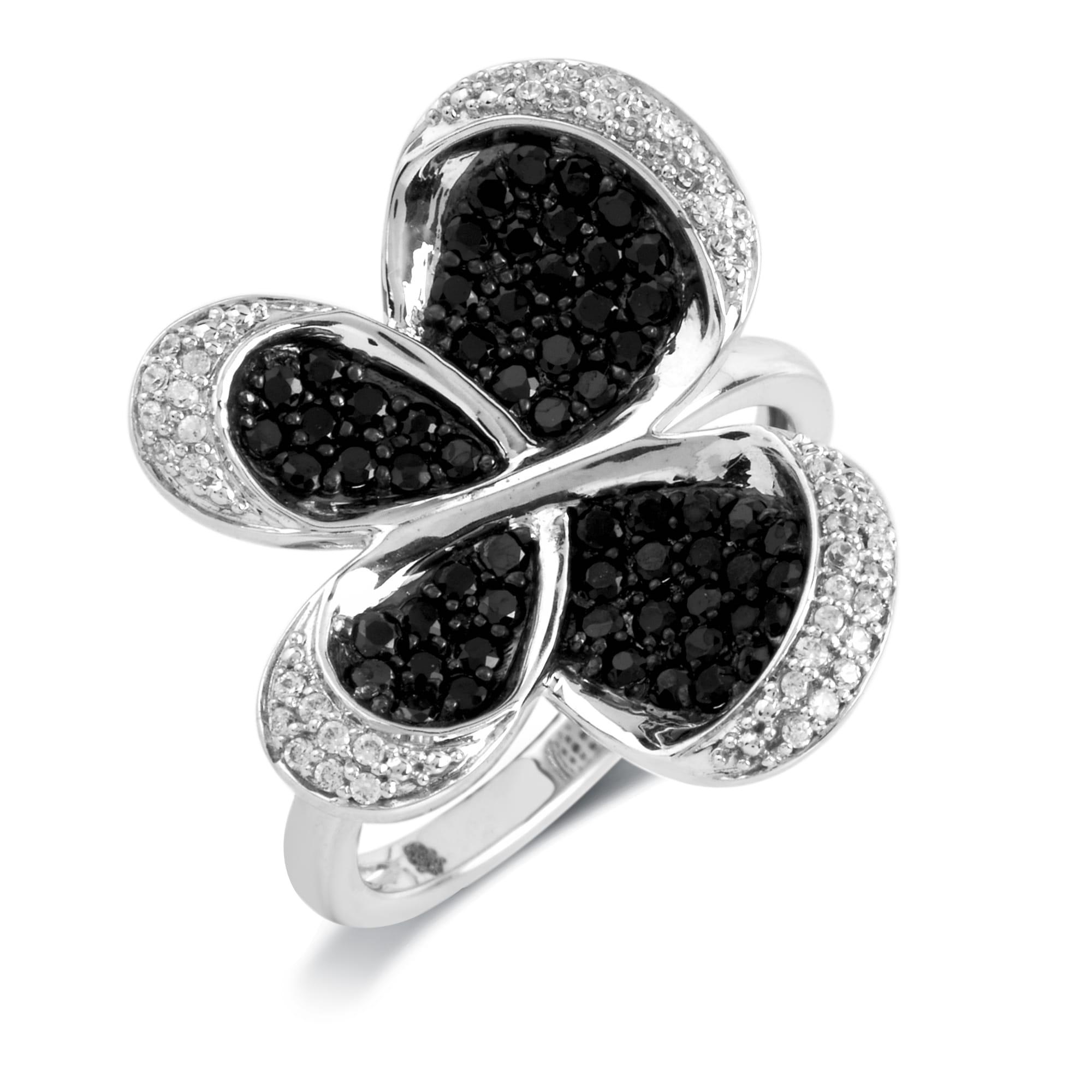 10k Gold 3/4ct TDW Black Diamond Butterfly Ring