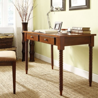 Tribecca Home Clare Mahogany Helix Legs 2-drawer Office Desk