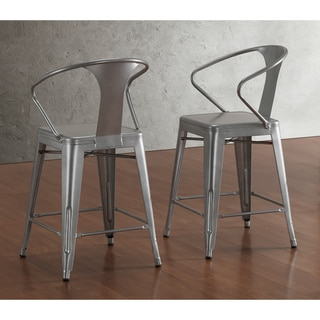 Tabouret Silver with Back 24-inch Counter Stools (Set of 2)
