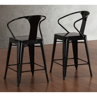 Tabouret Black with Back 24-inch Counter Stools (Set of 2)