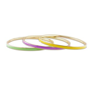 M by Miadora Multi-colored Enamel 3-piece Bangle Set
