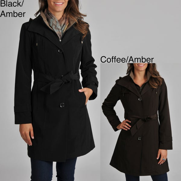 London Fog Women's Belted Trench with Removable Hood
