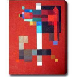 'Color Blocks on Red' Abstract Oil on Canvas Art