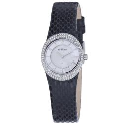 Skagen Women's Black Leather Strap Glitz Watch