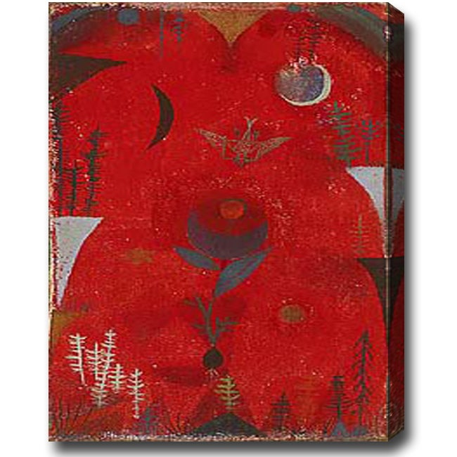 'Myth of Red Flower' Abstract Oil on Canvas Art