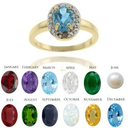 Dolce Giavonna Gold Overlay Birthstone and Diamond Ring (7 mm)