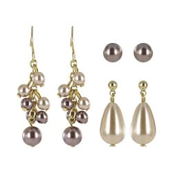 Roman Goldtone Beige and Brown Faux Pearl 3-pair Earring Set