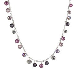 Roman Silvertone Purple and Grey Faux Pearl and Crystal 32-inch Necklace