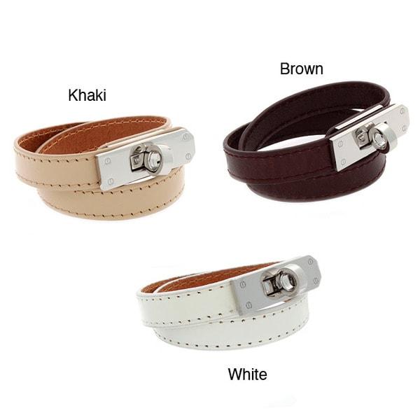 NEXTE Jewelry Silvertone Buckle Genuine Leather Double Wrap Bracelet