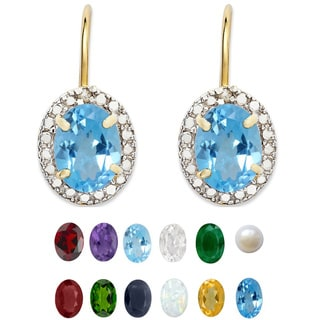 Dolce Giavonna Gold Overlay Gemstone/ Pearl and Diamond Earrings (7 mm)