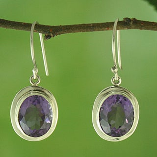 Sterling Silver and Faceted Oval Amethyst Dangle Earrings (Indonesia)