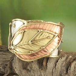 Handcrafted Wide Brass/ Copper Leaf Cuff Bracelet (India)