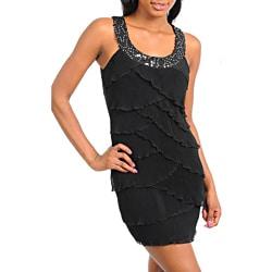 Stanzino Women's Black Sleeveless Tiered Dress with Detailed Neckline