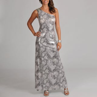 Women's One Shoulder All Over Sequin Snake Skin Printed Long Gown