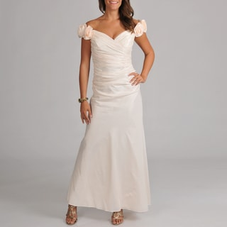 Women's Ruched Bodice Taffeta Long Gown