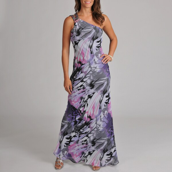 Women's One Shoulder With Beaded Detail Brush Stroke Printed Chiffon Gown
