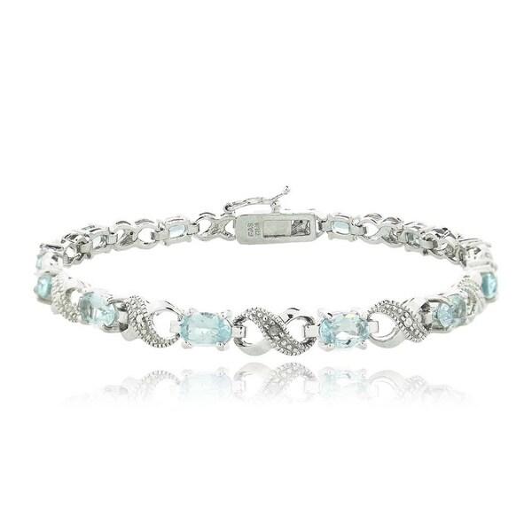 Glitzy Rocks Silvertone Gemstone and Diamond Infinity Link Bracelet 9303156