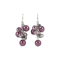 Roman Silvertone Purple and Grey Faux Pearl and Crystal Cluster Earrings