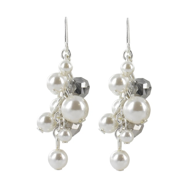 Roman Silvertone Cream Faux Pearl and Hematite Crystal Cluster Earrings