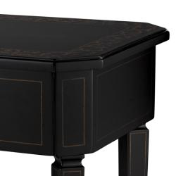 Hand Painted Black Finish Rectangular Accent Table