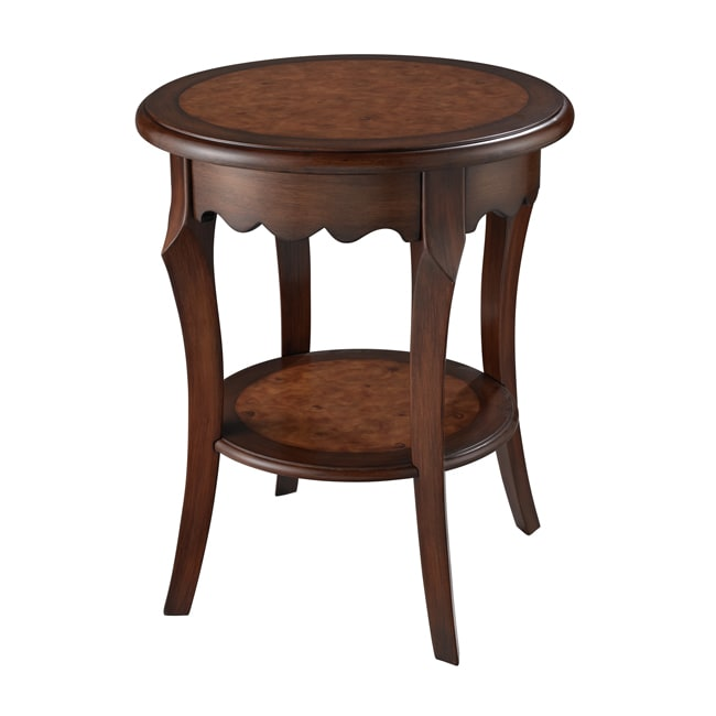 Hand Painted Cherry Finish Round Accent Table