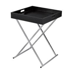 Black Crocodile Pattern Square Tray Table